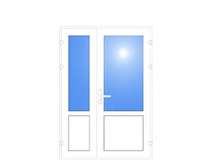Фото: Входная дверь ПВХ Open Teck De-lux 60 двухстворчатая 2100х1500 (одноточечный замок)